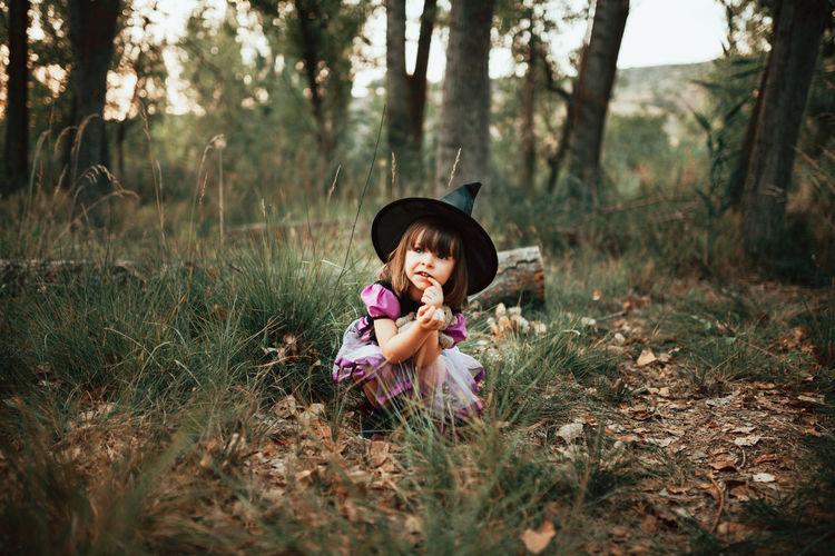 Portrait of girl in field