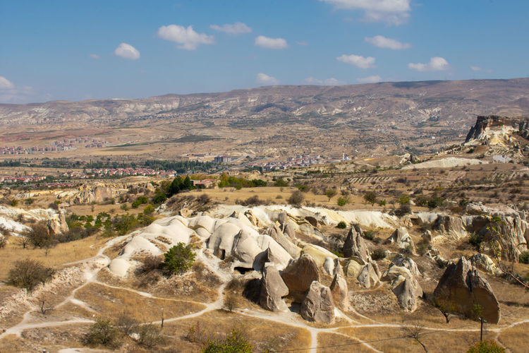 Uçhisar Göreme Turkey Turkish Landscape Environment Scenics - Nature Sky Rock Mountain Nature Rock - Object Tranquil Scene Beauty In Nature Cloud - Sky Land No People Tranquility Non-urban Scene Day Solid Rock Formation Plant Horizon Outdoors Arid Climate Climate Rolling Landscape
