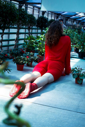 Rear view of woman sitting on potted plant