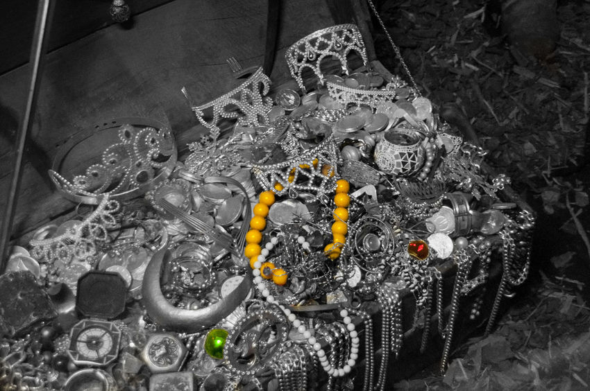Blackandwhite Close-up Colorsplash Eyeem Colorkey Indoors  Jewelry Large Group Of Objects Museum Necklace Pirates Still Life