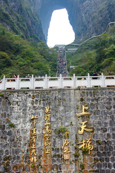 Mountain Architecture Built Structure Day Plant Tree Nature Outdoors Tianmen Mountain Hunan Zhangjiajie China Stairway Arch Natural Arch