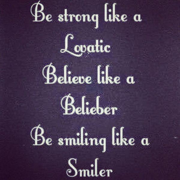 Smilers Lovatics Beliebers Mileycyrus demilovato justinbieber