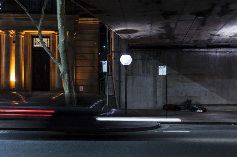 Blurred motion of illuminated lights