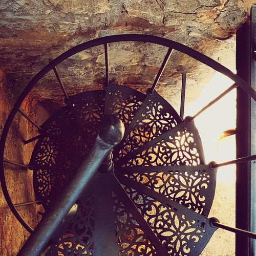 Ironwork  Iron Structure Black Iron Stairs Black Iron Downstairs View Cantina Down In The Cellar Sunlight Close-up Spiral Staircase Steps And Staircases Staircase Spiral Stairs Modern Hospitality A New Beginning