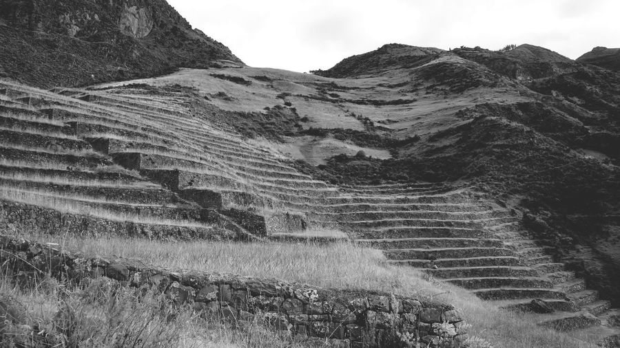 Beauty In Nature EyeEm Best Shots EyeEm Nature Lover Inka Landscape Landscapes With WhiteWall Mountain Mountain Range Outdoors Peru Pisac Perú Rock Formation Rural Scenes Steps Tranquility Blackandwhite Travel Photography Backpacking