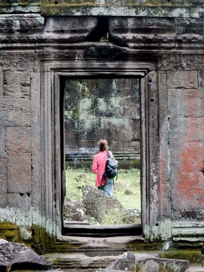 Rear View Of Woman At Angkor Wat