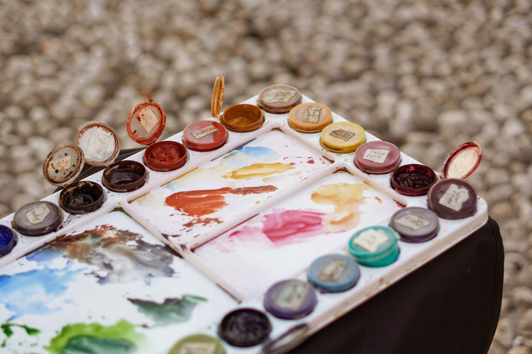 High angle view of watercolor paints
