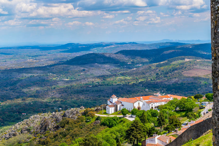 Castelo de Marvão Architecture Beauty In Nature Building Building Exterior Built Structure Cloud - Sky Day Environment High Angle View Landscape Mountain Mountain Range Nature No People Outdoors Plant Scenics - Nature Sky Tranquility Travel Destinations Tree