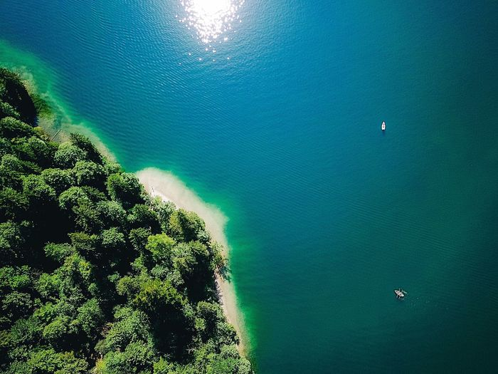 Sea High Angle View Aerial View Turquoise Colored Beach Water Nature Beauty In Nature Scenics Drone  Green Color Tranquility Sand Day No People Outdoors Nautical Vessel Tree Eyesight UnderSea Königssee Lake View Berchtesgadener Land  Connected By Travel Lost In The Landscape Perspectives On Nature The Great Outdoors - 2018 EyeEm Awards