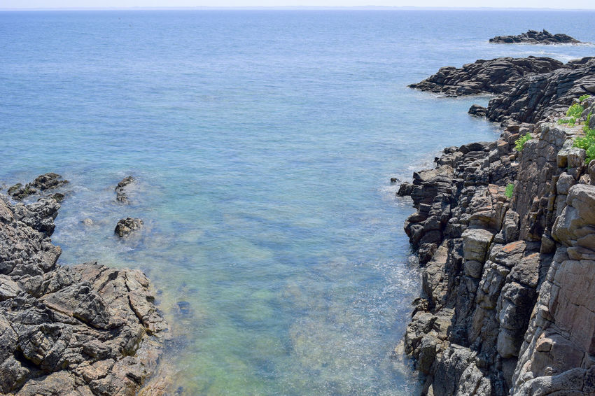 Nice and calm sea Beauty In Nature Day High Angle View Horizon Horizon Over Water Land Nature No People Outdoors Rock Rock - Object Rock Formation Rocky Coastline Scenics - Nature Sea Sky Solid Tranquil Scene Tranquility Water