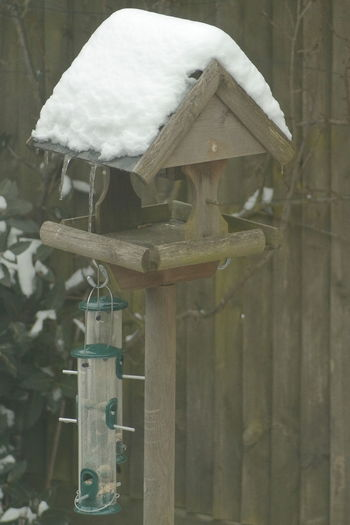 Snow on Bird Feeder in Spring Bird Feeder In Snow Bird Feeders Ice Icicles Bird Feeder Bird Feeder Hanging Close-up Cold Temperature Day Icicle No People Outdoors Snow Spring Snow Winter Wood - Material Wood Bird Feeder