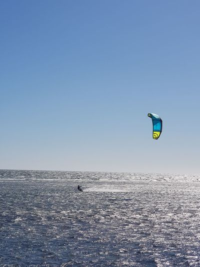 Clear Sky Sea Blue Sport Sunny Cold Temperature Sky Landscape Kiteboarding Horizon Over Water Windsurfing Ocean Wave Beach