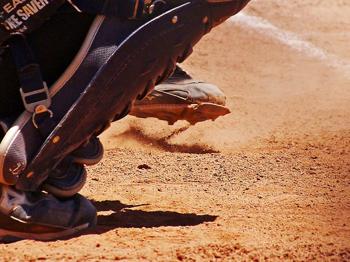 2 People Action Shot  Baseball Batter Baseball Catcher Baseball Field Catcher Shin Guards Dirt