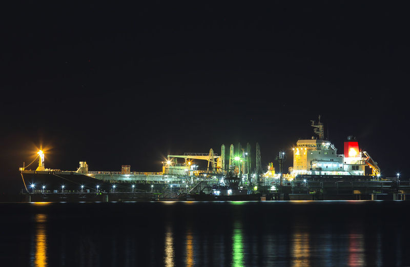 Illuminated commercial dock by sea against clear sky at night