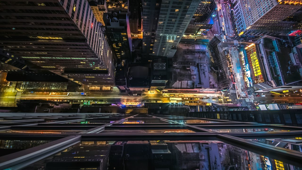 Directly above view of illuminated street in manhattan