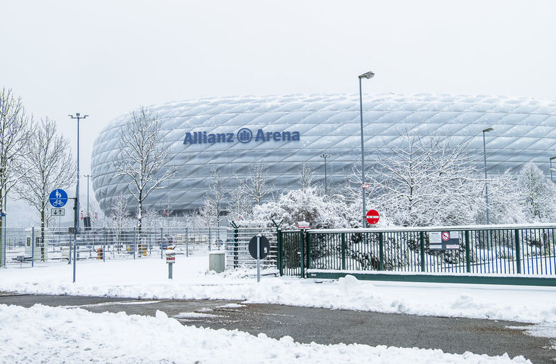 The Allianz Arena is covered with snow after the snow storm Arena Bayern Germany Football Munich Path Stadium Storm Winter Allianz Allianzarena Muenchen Snow Soccer Sports Travel Destinations Tsv1860
