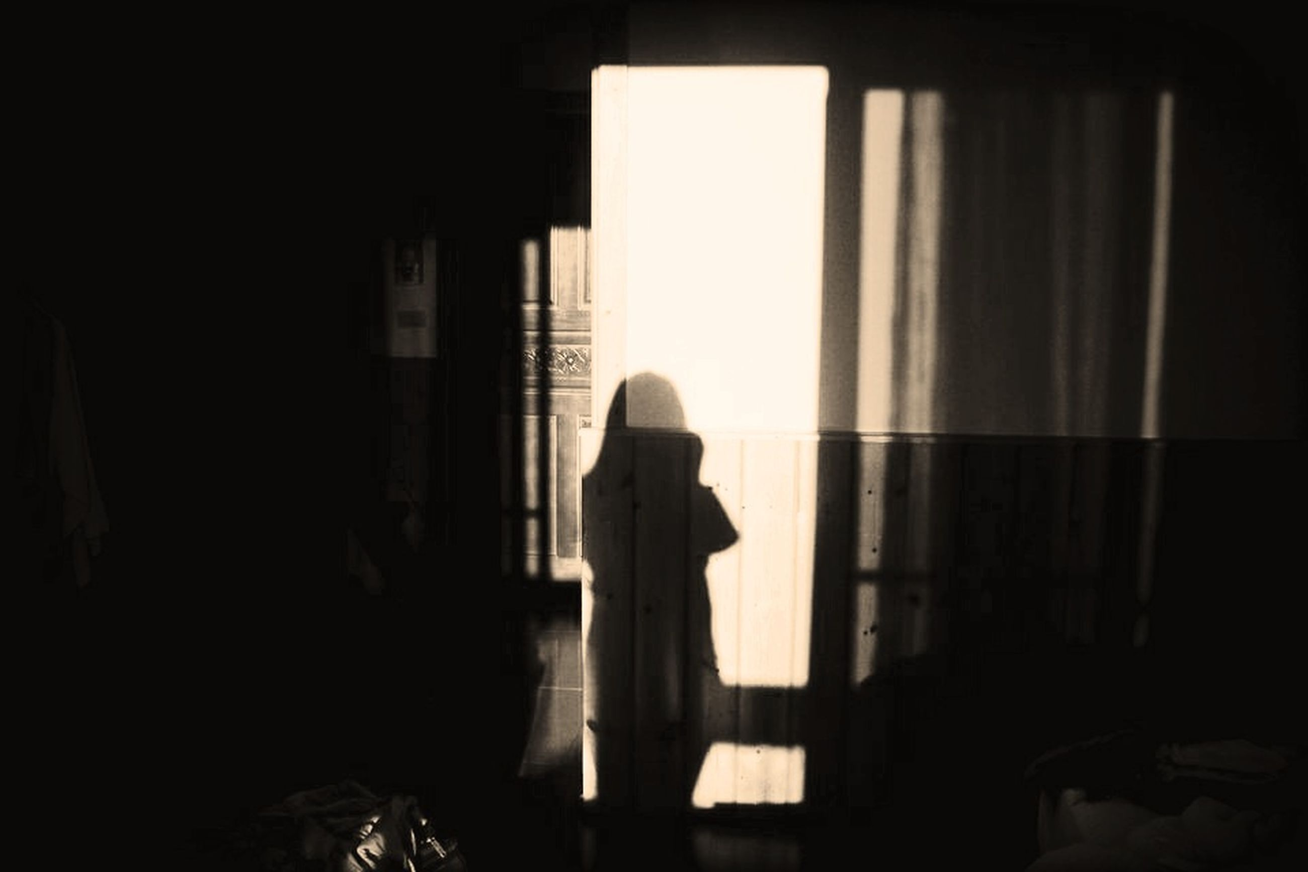 indoors, silhouette, window, standing, lifestyles, rear view, shadow, dark, home interior, person, full length, sunlight, leisure activity, men, curtain, side view, built structure, architecture