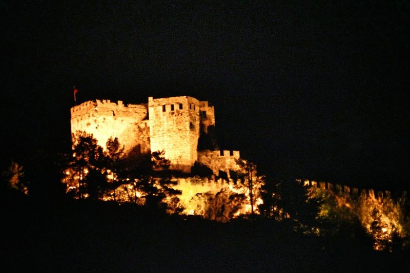 Castle On A Hill Nightshot Illuminated Castle On The Hills Ancient Architecture Exploring Surroundings On A Trip Life Is More Than Just A Beach Alanya/Turkey