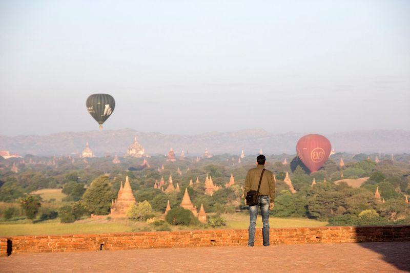 The Traveler - 2015 EyeEm Awards Myanmar Bagan Baloons Tourists Landscape