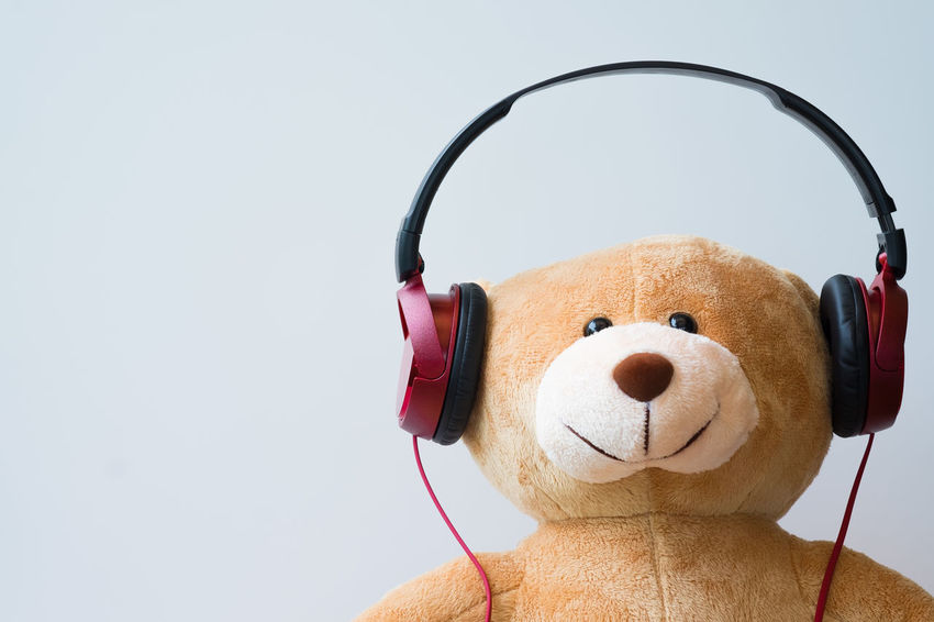 Stuffed Toy Indoors  Toy Listening Close-up Representation Copy Space Still Life Studio Shot No People Headphones White Background Teddy Bear Creativity Music Portrait Headphone Isolated Entertainment Leisure Activity Lover Red Copy Space Gadget Relaxing