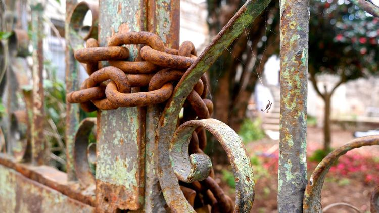 Chain Close-up Closed Day Deterioration Focus On Foreground Iron - Metal Kette La Laguna Metal Metallic Old Padlock Protection Rusty Security Showcase April Strength Tenerife Tenerife Island Teneriffa Tor Wood - Material