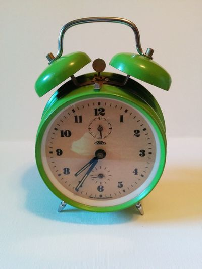 Alarm Clock Clock Face Close-up Green Clock Green Color Minute Hand Old-fashioned Old-fashioned Clock Ringing Simple Time Vintage Vintage Clock White Background Clock Retro