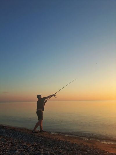 Gonefishing Fishing Baltic Sea Full Length Sea Sunset Beach Clear Sky Water Standing Sand Sky Horizon Over Water Evening Coastline