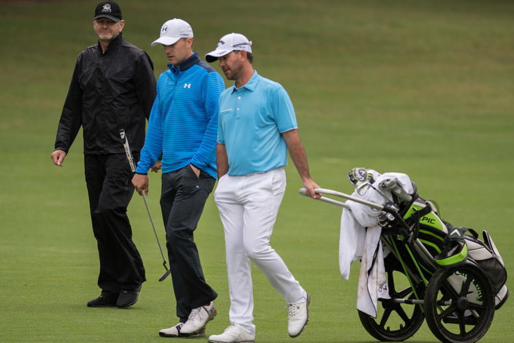Ricky Ponting and Jordan Spieth at the Australian Open pro-am ahead of the 2017 Australian Golf Open at Australian Golf club Sydney on Nov 22, 2017. #Australia #Jordanspeith #RickyPonting #golf