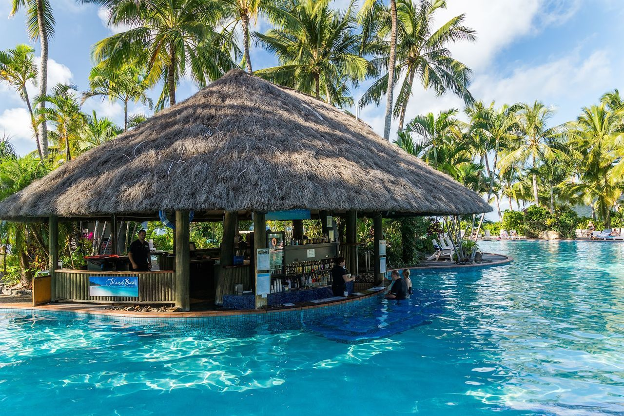 palm tree, water, swimming pool, thatched roof, tourist resort, hut, day, outdoors, tropical climate, tree, waterfront, architecture, no people, tranquility, stilt house, built structure, luxury, building exterior, nature, vacations, sky