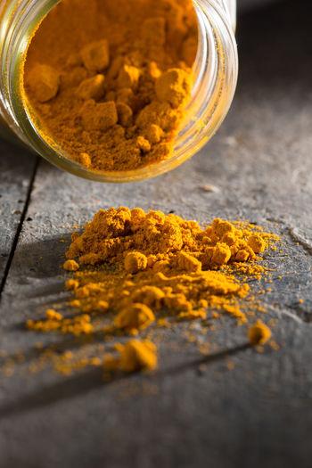 Indian Orange Spoon Turmeric Powder Close-up Food Macro Orange Color Organic Oriental Still Life Turmeric  Yellow