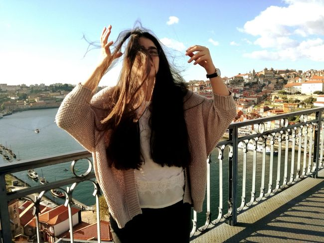 One Person City Rio Douro Portugal Messy Hair Windy Day