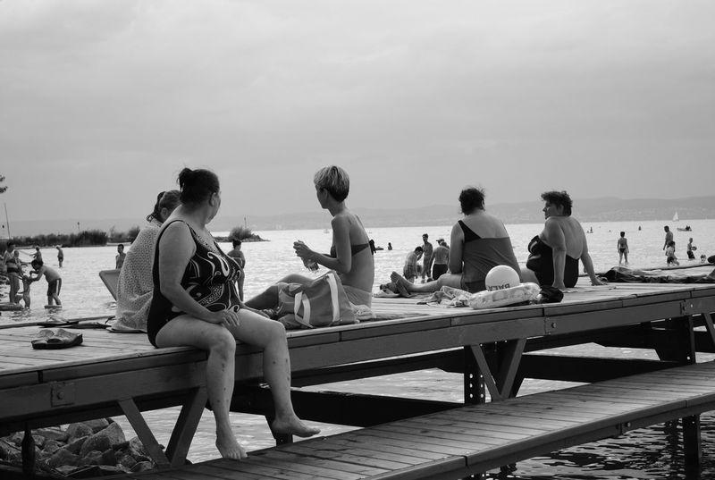 Balaton Hungary Siofok Beach Blackandwhite Candid Fat Gossip Honest Lake Real People Relaxing Time Summer Sunbathing Vacations Women