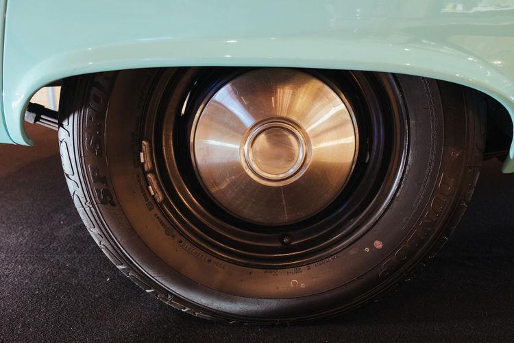 Close-up of vintage car wheel