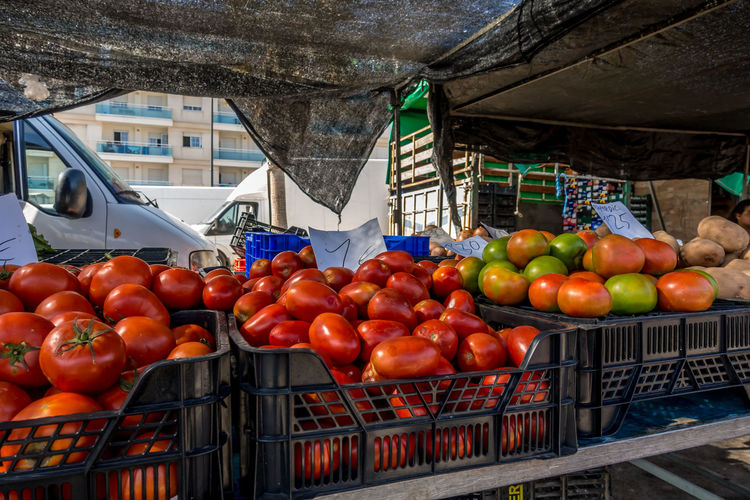 Roquetas De Mar SPAIN Almería Market Street Market Spanish Market Food And Drink Fruit Food Healthy Eating Freshness Retail  Wellbeing Market Stall Container Abundance Vegetable For Sale Tomato Crate No People Box Sale Outdoors Retail Display