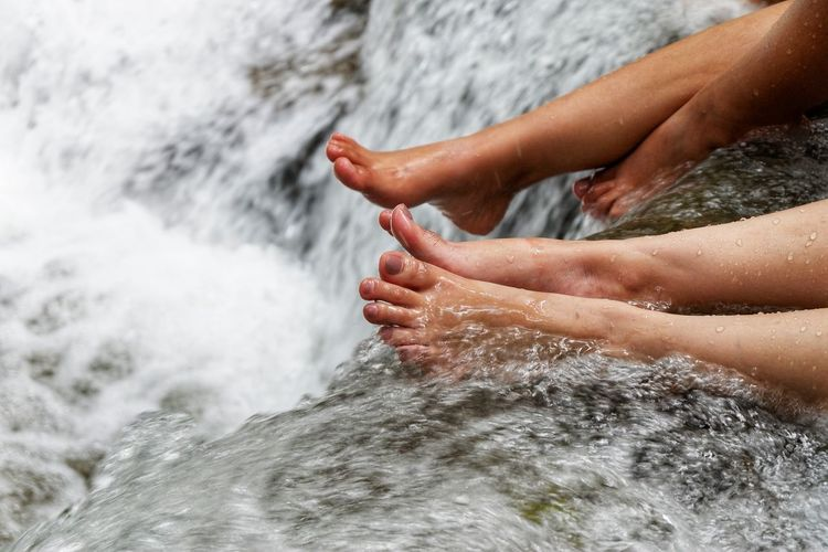 Waterfall Water Beauty Low Section Sea Young Women Sitting Beach Close-up Human Foot Human Leg Canvas Shoe Shoe Flat Shoe Personal Perspective Sole Of Foot Footwear Feet Pedicure Human Toe Toe Rushing Surf Wave Nail Polish Toenail Tide Shore Foot Holiday Moments Moments Of Happiness