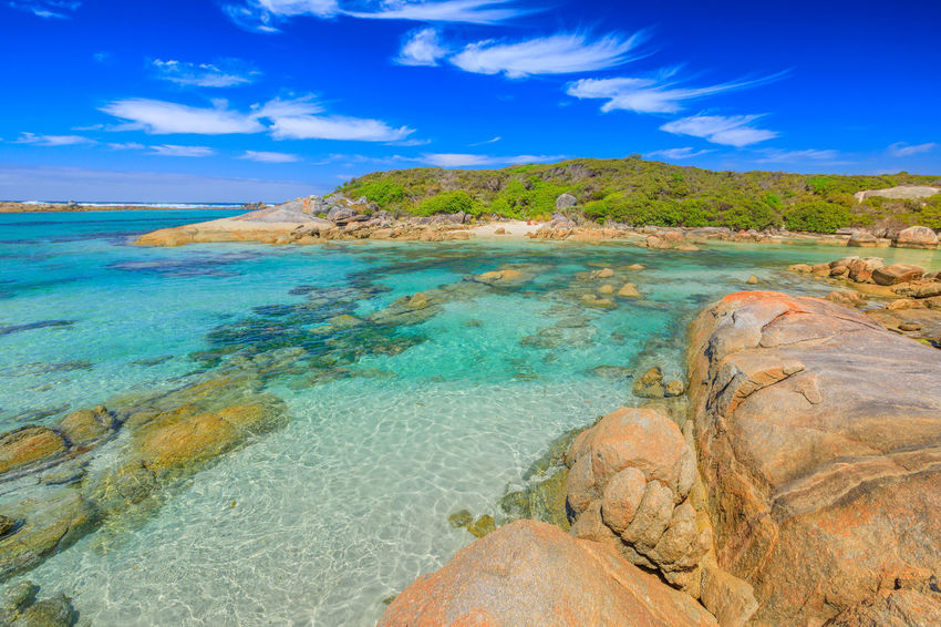 William Bay National Park, Denmark region, Western Australia. Tropical turquoise waters of Madfish Beach surrounded by rock formations. Sunny blue sky. Popular summer destination in Australia. Australia Western Australia Beach Sea Sea And Sky Bay Sunbathing Sand Shore Rocks Boulder Blue Sky People Tourist Travel Destinations Summer Madfish Beach William Bay National Park Elephant Rocks Greens Pool Coastline Great Southern Ocean Ocean View Waterfall Beach Denmark Water Scenics - Nature Sky Beauty In Nature Rock Tranquil Scene Land Rock - Object Solid Cloud - Sky Nature Tranquility Non-urban Scene Idyllic Blue Day No People Outdoors Turquoise Colored