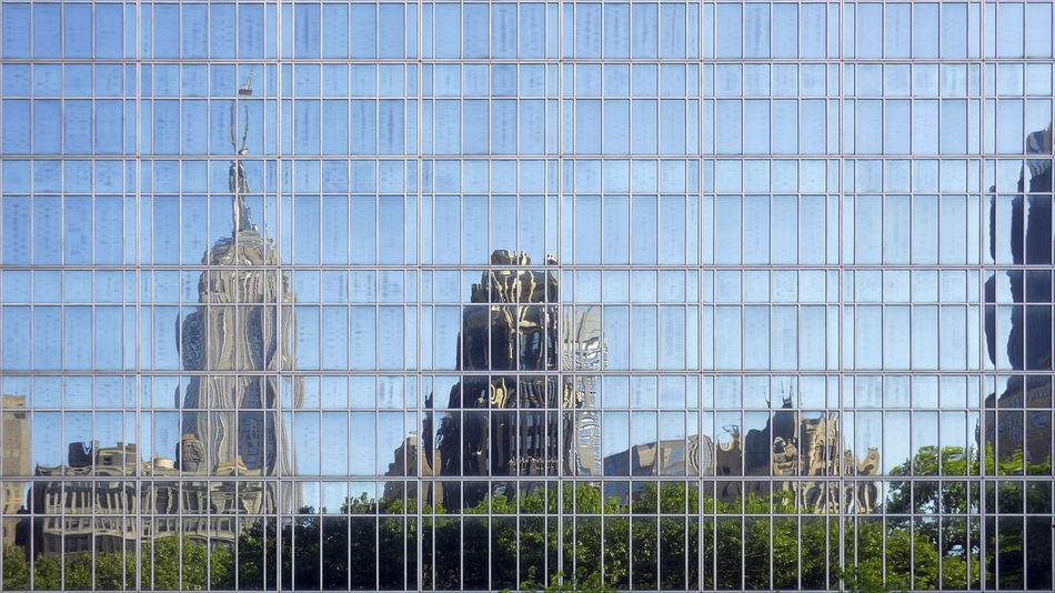 Architecture Blue Bryant Park NYC Building Exterior Built Structure Contrasts Day Empire State Building Reflections Famous Place Full Frame Glass Modern New York Buildings No People Office Building Outdoors Reflection Reflection In The Glass  Sky Skyline Reflection Skyscraper Tall - High Urban Skyline Battle Of The Cities Windows reflections from Bryant Park