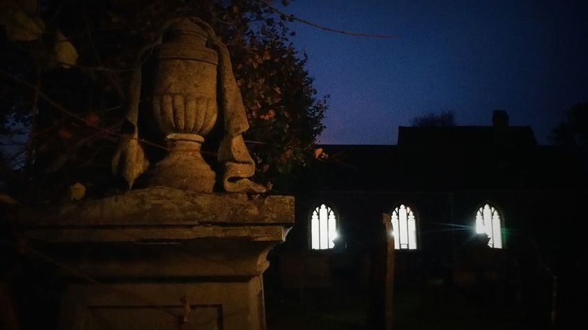 Church graveyard at night Night Place Of Worship Statue Graveyard Church Window Light From Window