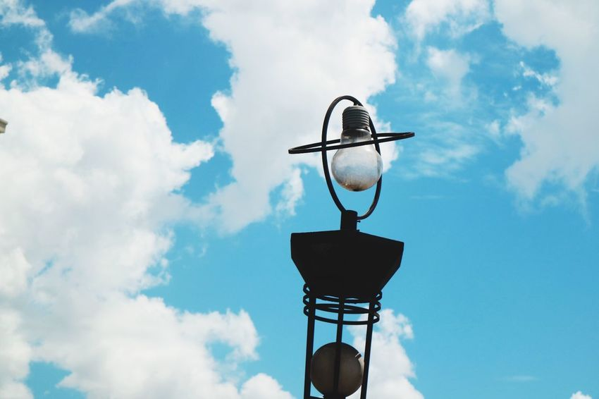 Lamp Post Traveling Travel EyeEm Selects Cloud - Sky Sky Low Angle View Cloud Weather Vane Day Blue Outdoors Technology