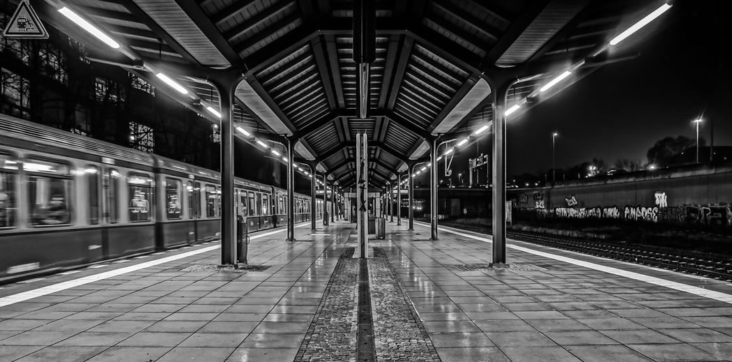 View of railroad station at night