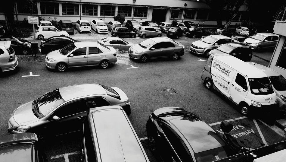 Monochrome Photography crowd car park