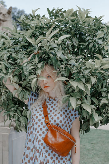 Plant Real People Leisure Activity Lifestyles Blond Hair Front View Standing Women Green Color Portrait Casual Clothing Leaf Plant Part Nature Beautiful Woman Hairstyle TheWeekOnEyeEM The Week on EyeEm