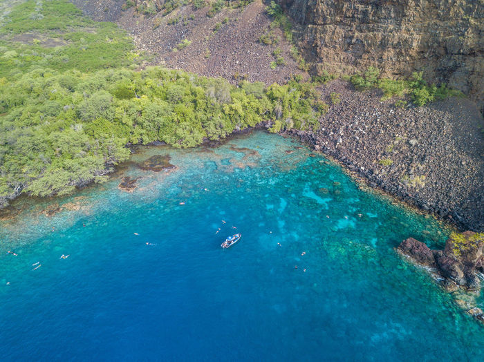 Aerial View Beach Beauty In Nature Blue Cliff Day Eyesight High Angle View Nature Outdoors Rock - Object Rural Scene Scenics Sea Summer Swimming Tranquility Two People UnderSea Vacations Water