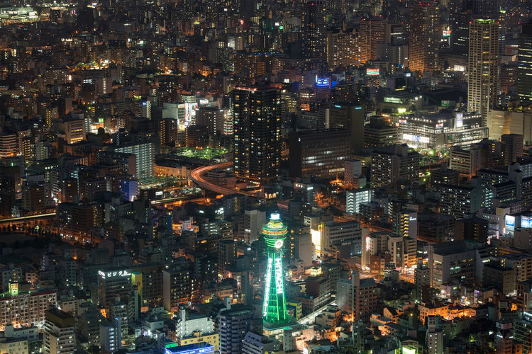 Tsūtenkaku tower in Osaka, Japan Architecture City Cityscape Elevated View Illuminated Japan Night No People OSAKA Skyscraper Tall Tall - High Tower