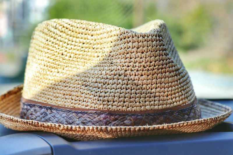 Close-up of hat on boat
