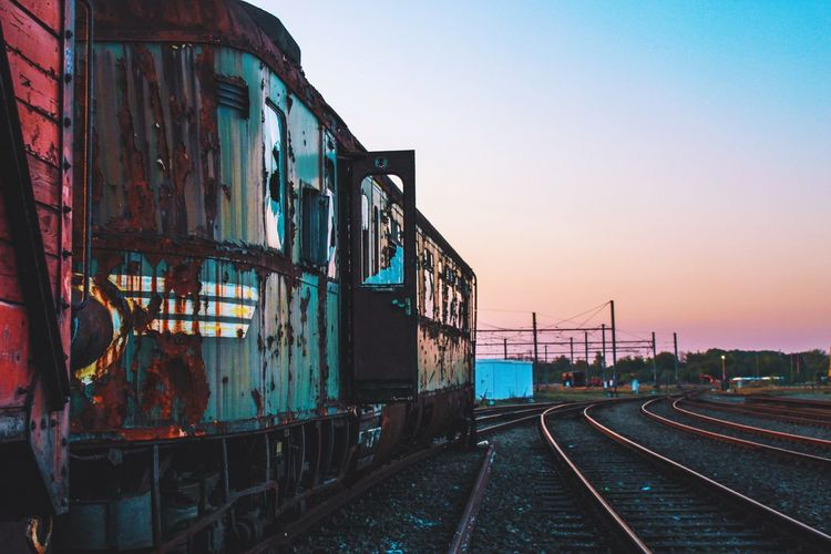 Clear Sky Evening Evening Glow Evening Light Evening Sky Evening Sun Exploration Exploring Nature Taking Over No People Old Railroad Track Sunset Train Train Station Urban Exploration Urbex Urbexphotography