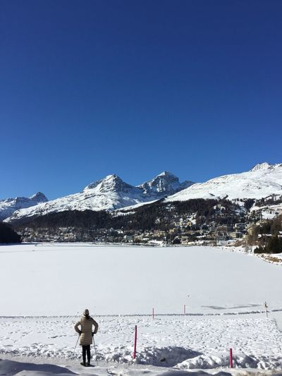 Switzerland Switzerland Alps Frozen Lake Winter Snow Winter Sports Engadin