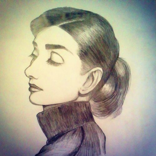 Audrey Hepburn by Sharp Pencil HB 0.5mm. Art MOVIE Cinema Illustration Actress Audreyhepburn Pencilillustration