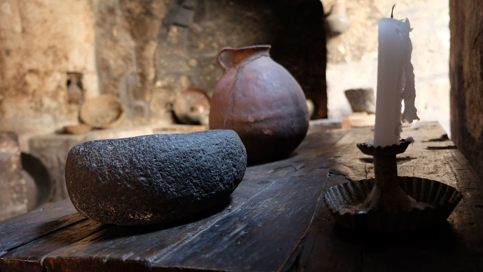 Antique Basic Bowl Candle Close-up Focus On Foreground Monasterio De Santa Catalina Monastery No People Peru Santa Catalina Monastery Selective Focus Table Wood - Material Wooden