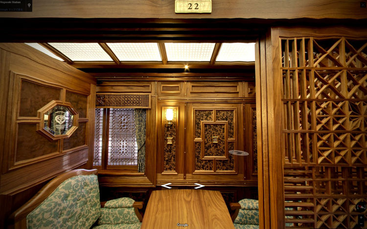 JR Kyushu tourism JR KYUSHU SWEET TRAIN「或る列車」 Compartment Reserved Seat August 14 : Interior Design by Eiji Mitooka+Don Design Associates de Good afternoon Exterior In The Train Reserved Screen Capture Showcase August 2016 Wood - Material Wooden Texture 大川組子 水戸岡鋭治